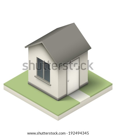 Simple little house realistic isometric illustration. EPS10 vector.