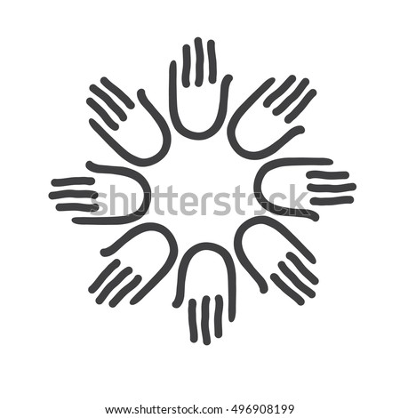 Simple logo icon design. Hands - template for the team, fund, association, community. Graphic idea for a company or a social project.