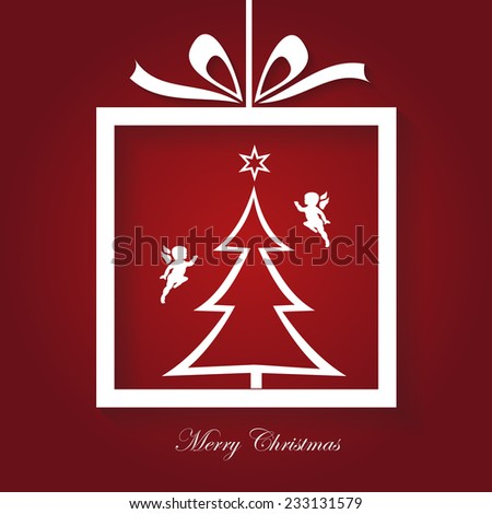 Simple Merry Christmas Card, modern, vector, illustration - stock vector