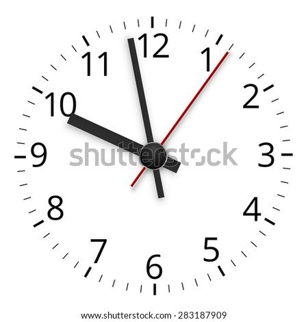 Simple minimal clock design dial plate with arrows, Vector illustration - stock vector