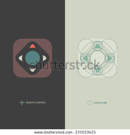 Simple Minimalistic Vector Remote Control Icon. Logo Template Including Geometric Structure. Modern Flat Style. - stock vector