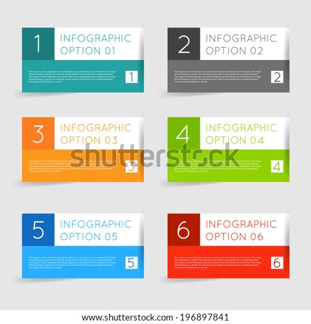 Simple modern flat infographics options banner set. Vector illustration for games, tablets, smart phones, gui and ui. - stock vector