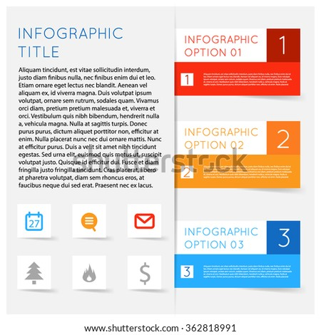 Simple modern flat infographics options banner set. Vector illustration for games, tablets, smart phones, gui and ui. Text with options, symbols icons lists, sample text shadows. - stock vector