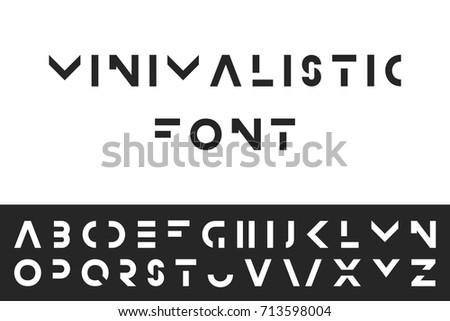 Simple Modern Font Vector Minimalistic English Alphabet Futuristic Latin Letters