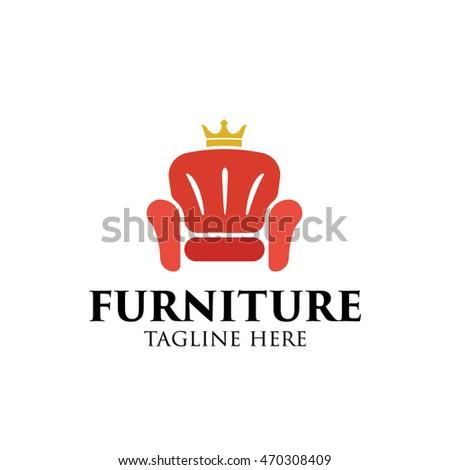 Simple modern furniture logo design template stock vector for Chair logo design