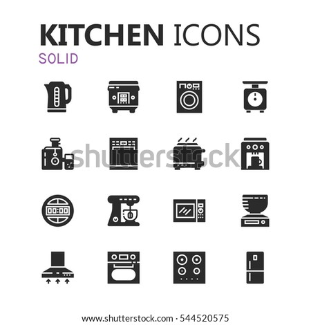 Simple modern set of kitchen appliances icons. Premium symbol collection. Vector illustration. Simple pictogram pack.