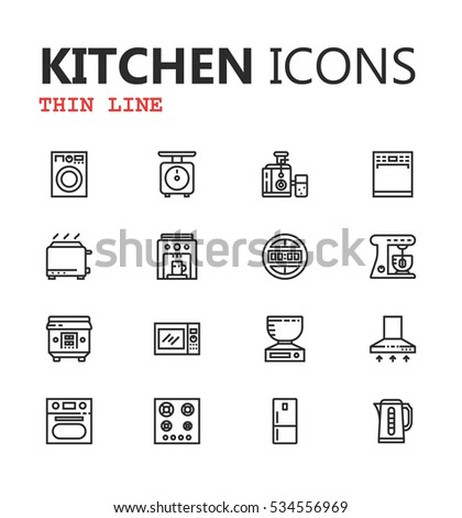 Simple modern set of kitchen thin line icons. Premium symbol collection. Vector illustration. Simple pictogram pack. Editable Stroke. Eps 10