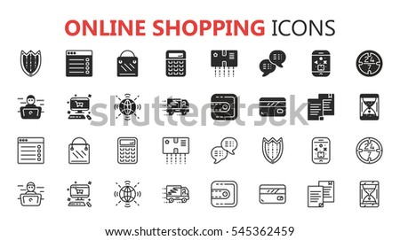 Simple modern set of online shopping icons. Premium symbol collection. Vector illustration. Simple pictogram pack.