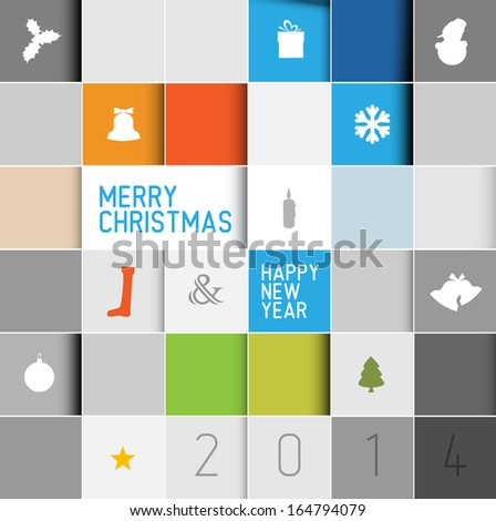 Simple modern vector christmas card with various seasonal elements in squared mosaic - stock vector