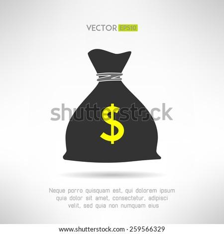 Simple money bag icon. Bank savings symbol concept. Vector illustration - stock vector