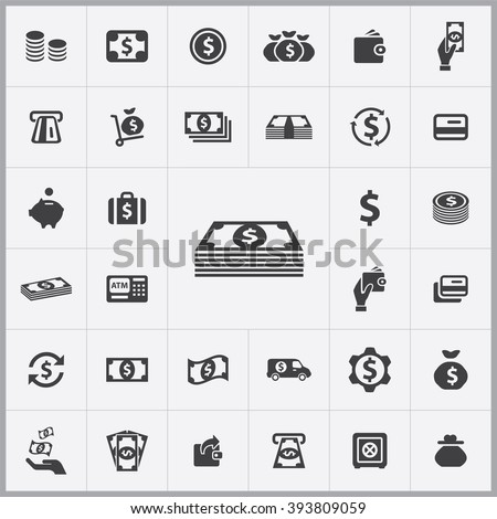 Simple money icons set. Universal money icon to use in web and mobile UI, set of basic UI money elements - stock vector