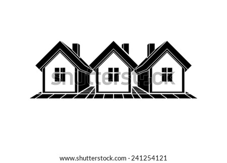 Simple monochrome cottages illustration, black and white country houses, for use in graphic design. Real estate concept, region or district theme.  - stock vector