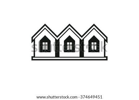 Simple monochrome cottages vector illustration, black and white country houses, for use in graphic design. Real estate concept, property abstract corporate image. - stock vector