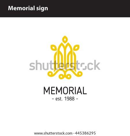 simple monochrome memorial sign - stock vector