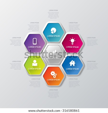 Simple multicolor 7 step honey cell honeycomb hexagonal process steps labels infographics mockup template. Infographic background concepts collection. - stock vector