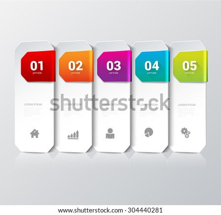 Simple multicolor 5 step process steps labels infographics mockup template. Infographic background concepts collection. - stock vector