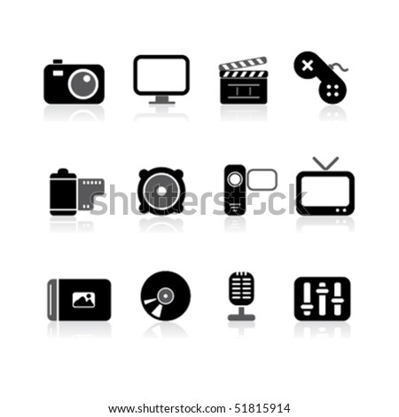 simple multimedia icons - stock vector