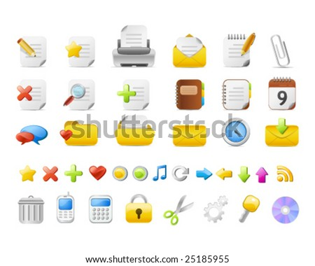 Simple office icon-set - stock vector