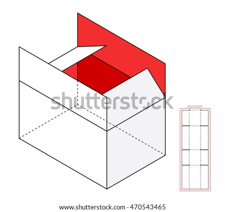 template simple box cut out paper stock vector 451601599 shutterstock. Black Bedroom Furniture Sets. Home Design Ideas
