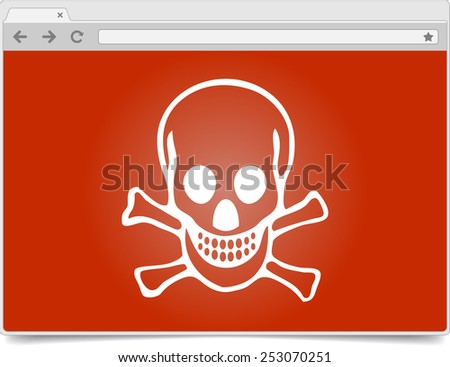 Simple opened browser window on white background with skull and shadow. Browser template / mockup. - stock vector