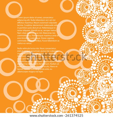 simple orange background  with circles elements - stock vector