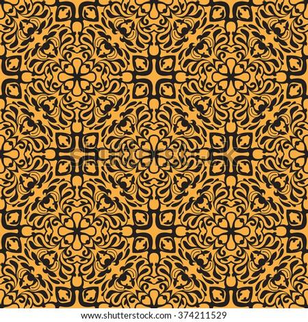 Simple orange seamless wallpaper pattern vector illustration - stock vector