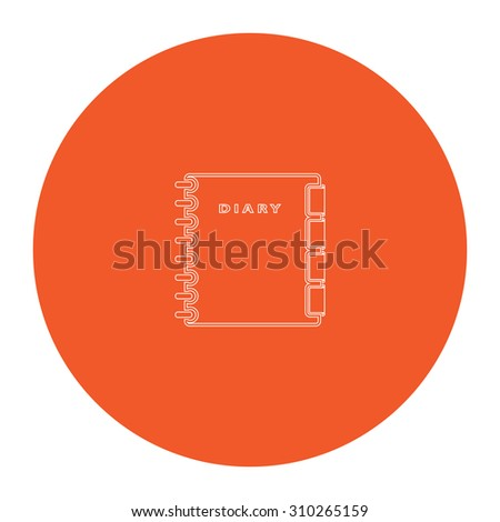 Simple organizer. Flat outline white pictogram in the orange circle. Vector illustration icon - stock vector