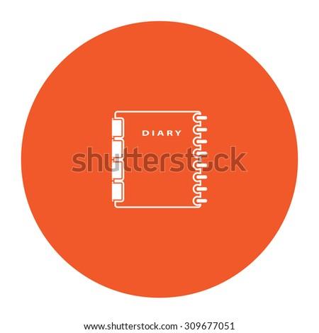 Simple organizer. Flat white symbol in the orange circle. Vector illustration icon - stock vector