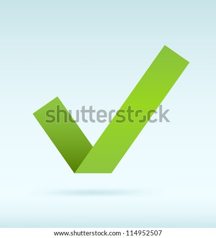 Simple origami green tick. Vector image.