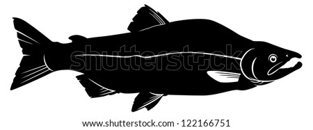 simple outline of a pink salmon - stock vector