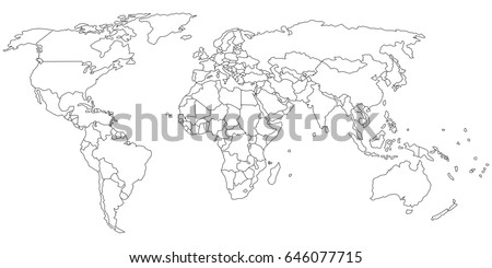 Hand drawing world map countries vector vectores en stock 233202067 simple outline of world map on transparent background gumiabroncs Gallery