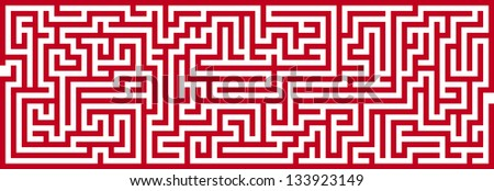 Simple Panoramic Maze Pattern Isolated on White Background - stock vector