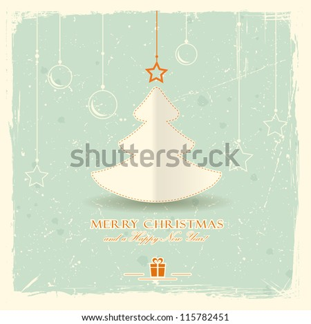 Simple paper Christmas tree with star and hanging ornaments on pale green distressed background. - stock vector