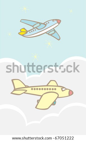 Simple passenger jets flying in the clouds. - stock vector