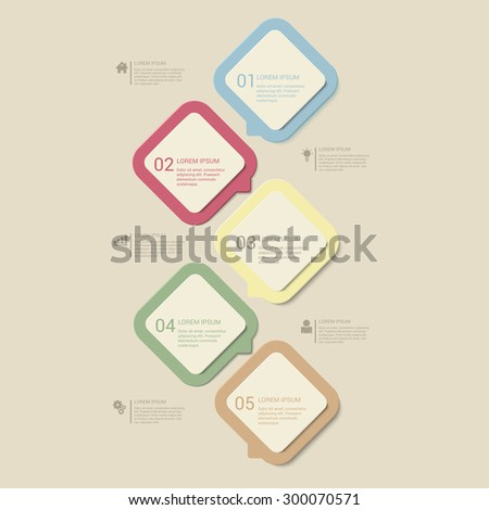 Simple pastel retro dusk multi color 5 step process steps labels infographics mockup template. Infographic background concepts collection. - stock vector