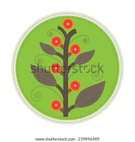 simple patchwork round badge with abstract fruit tree on foreground - stock vector