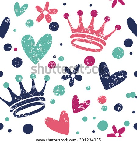 Simple pattern with hearts and crowns. Great for Baby, Valentine's Day, Mother's Day, wedding, scrapbook, surface textures. - stock vector