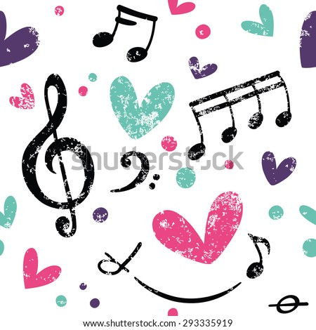 Simple pattern with hearts, treble clef and notes. Great for Baby, Valentine's Day, Mother's Day, wedding, scrapbook, surface textures. - stock vector