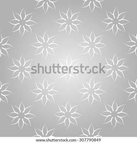 Simple patterns. Vector seamless pattern. Modern stylish texture. Repeating geometric with arcs. Flower shaped pattern grid. Stars pattern. White.