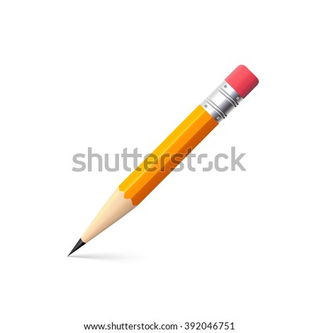 Simple pencil on white background, drawing a line, vector shiny pencil