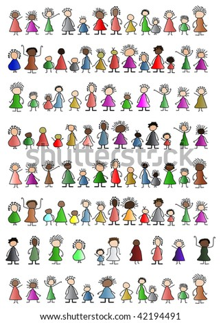 simple people children childlike unity - stock vector
