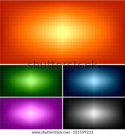simple pixel banner and background set - stock vector