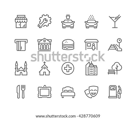 Simple Points of Interest Related Vector Line Icons.  Contains such Icons as Food, Park, Museum, Hotel, Hostel, Bus Stop, Railway Station and more.  Editable Stroke. 48x48 Pixel Perfect.  - stock vector
