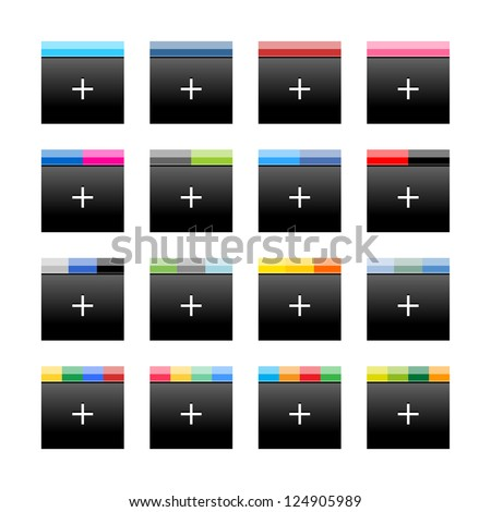 Simple popular social networks icon with plus sign. Black square shape internet button with popular colors striped lines on white background. Vector illustration web design elements saved in 10 eps - stock vector