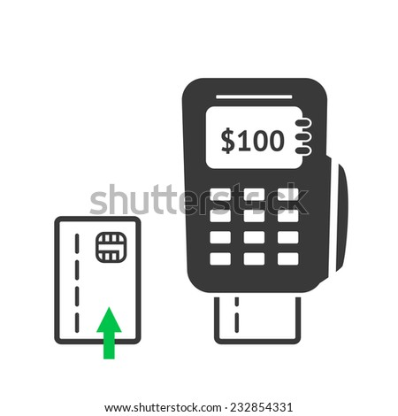 Simple POS terminal logo icon. Vector illustration. - stock vector