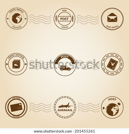 simple post and mail stamps set eps10 - stock vector