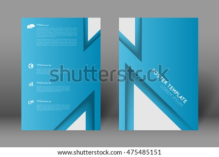 Simple Poster Design Template Abstract Blue Background With Triangles