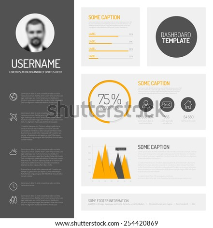 Simple profile dashboard template with flat design graphs and charts - stock vector