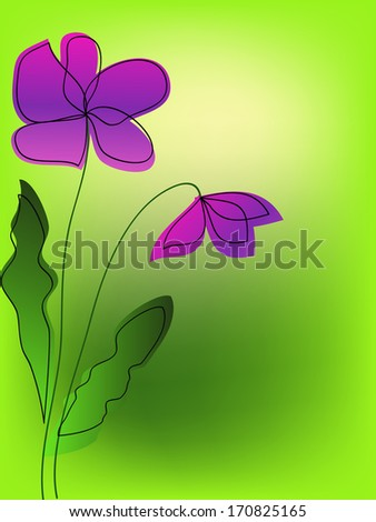 simple purple flowers on green background - stock vector