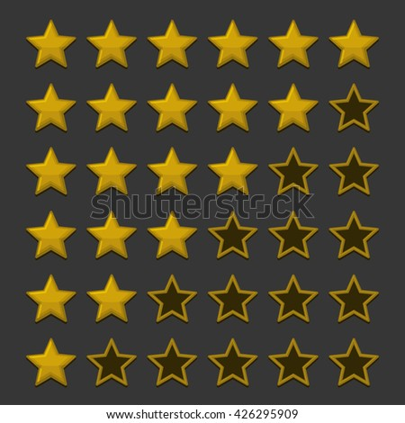 Simple Rating Stars on Dark background. Vector